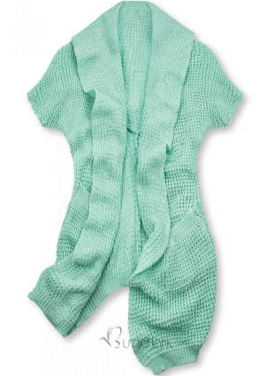 Cardigan tricotat asimetric verde mentă