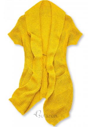 Cardigan tricotat asimetric galben