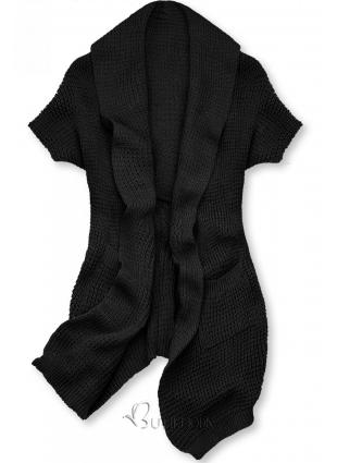 Cardigan tricotat asimetric negru