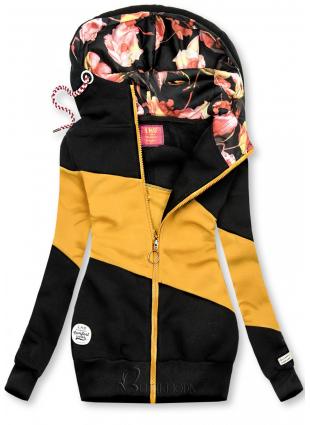 Hanorac color block negru/galben