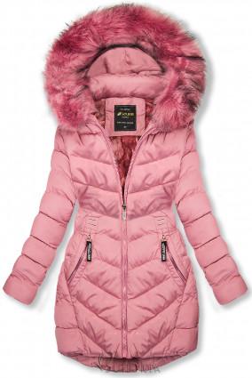 Geacă de iarnă roz cu glugă detașabilă