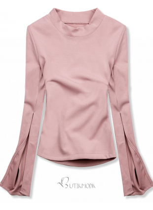 Top roz cu mâneci lungi