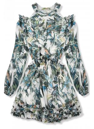 Rochie florală verde-albastru Laura/O'la Voga