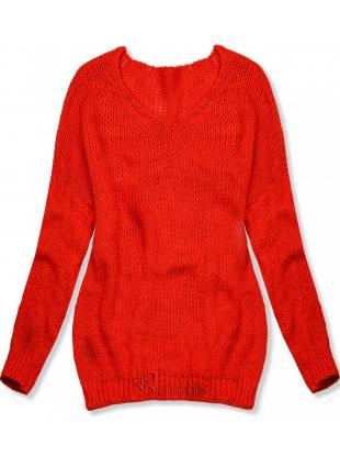 Pulover tricotat portocaliu neon