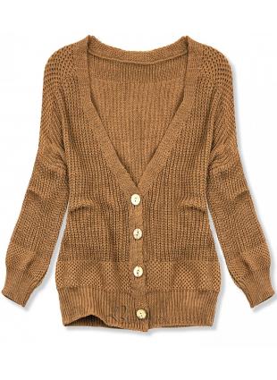 Pulover tricotat cu nasturi maro