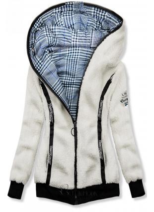 Hanorac albastru-alb reversibil cu blană