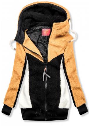 Hanorac de blană galben-neagru