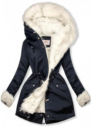 Parka de iarnă cu căptușeală detașabilă bleumarin/alb