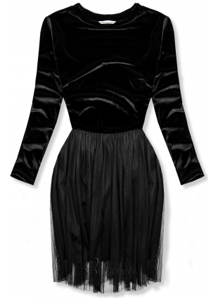 Rochie neagră cu fustă din tul