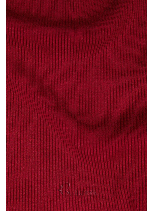 Pulover scurt roșu cu guler înalt