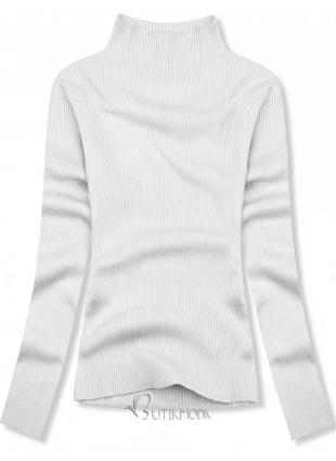Pulover scurt alb cu guler înalt