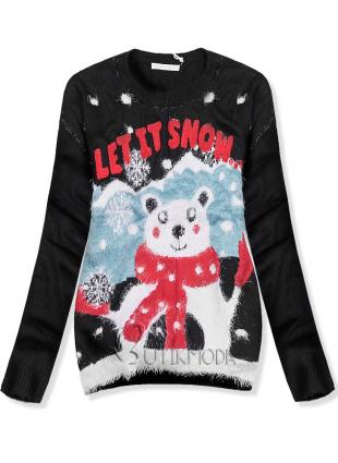 Pulover negru LET IT SNOW