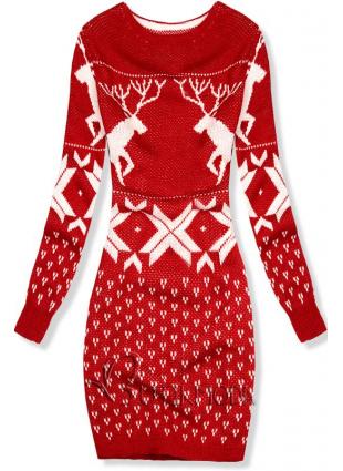 Rochie roșie din tricot cu motive de iarnă