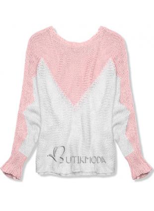 Pulover roz cu mânecă liliac