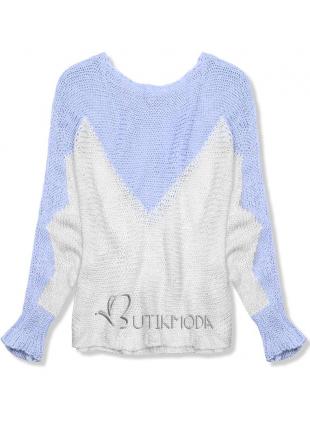 Pulover albastru deschis cu mânecă liliac