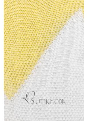 Pulover galben cu mânecă liliac