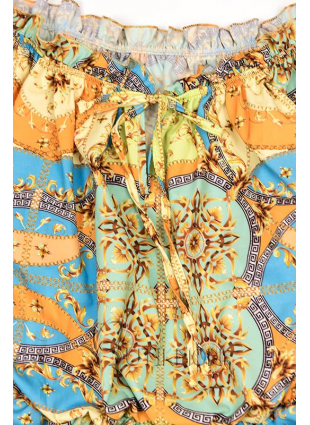 Rochie cu imprimeu albastru/galben