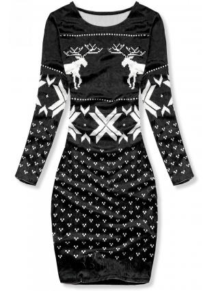 Rochie neagră din catifea cu motiv de Crăciun