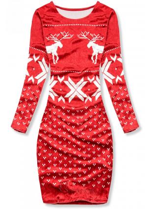 Rochie roșie din catifea cu motiv de Crăciun