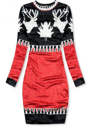 Rochie albastră-roșie din catifea cu imprimeu de Crăciun