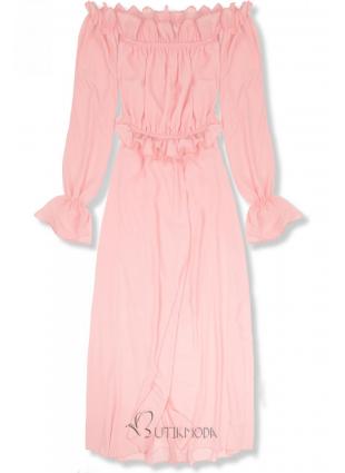 Rochie lungă de vară roz pudrăt