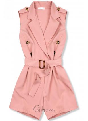 Salopetă elegantă roz cu cordon