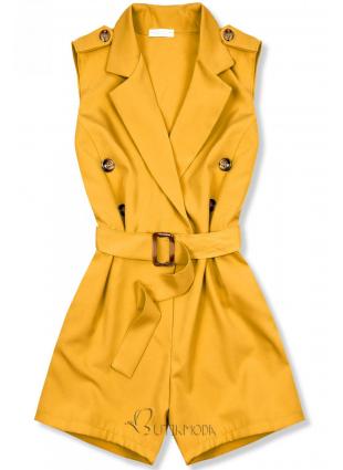 Salopetă elegantă galbenă cu cordon