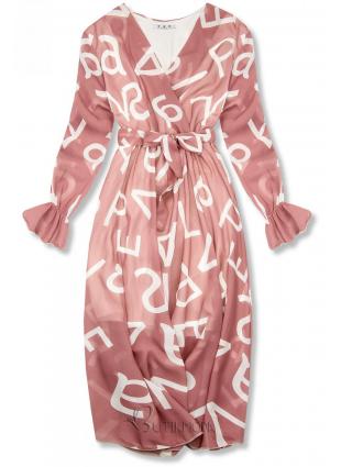 Rochie midi roz deschis cu imprimeu cu litere