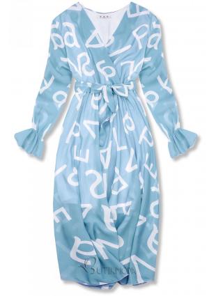Rochie midi albastru pal cu imprimeu cu litere