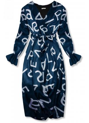 Rochie midi albastru închis cu imprimeu cu litere