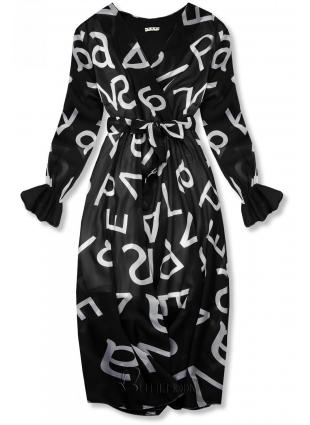 Rochie midi neagră cu imprimeu cu litere