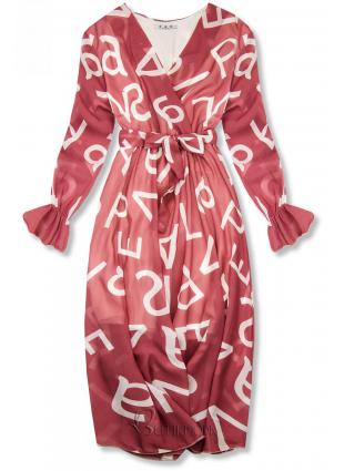 Rochie midi roz închis cu imprimeu cu litere