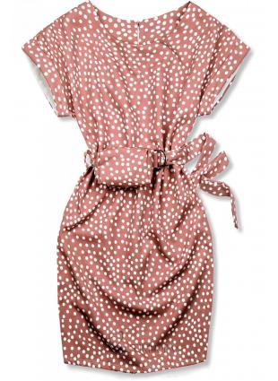 Rochie roz prăfuit cu buline și o geantă mică în talie