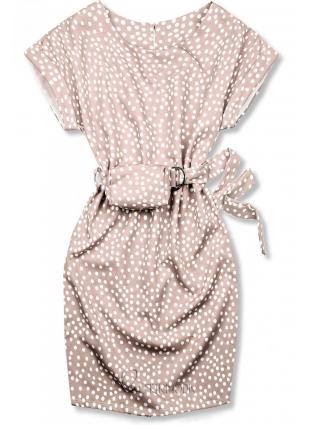 Rochie roz deschis cu buline și o geantă mică în talie