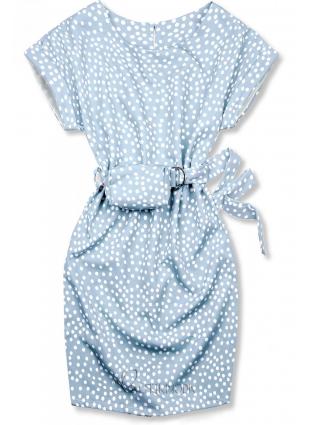 Rochie albastru deschis cu buline și o geantă mică în talie