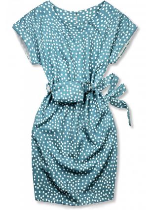 Rochie albastră cu buline și o geantă mică în talie
