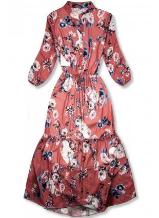 Rochie midi florală roșu cărămidă