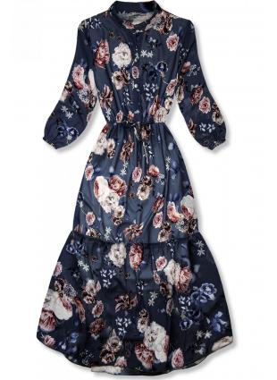 Rochie midi florală bleumarin