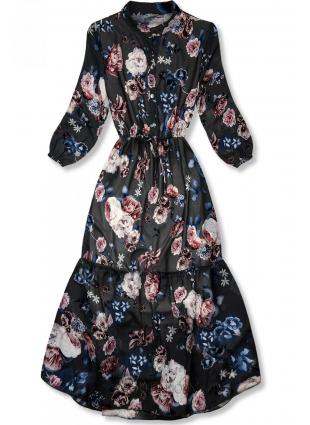 Rochie midi florală neagră