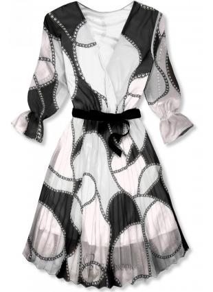 Rochie midi cu imprimeu negru-alb