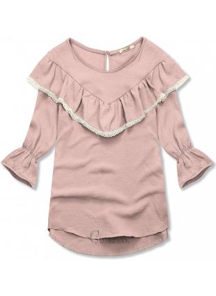 Bluză roz cu volănaș