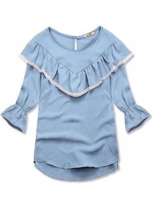 Bluză albastră cu volănaș