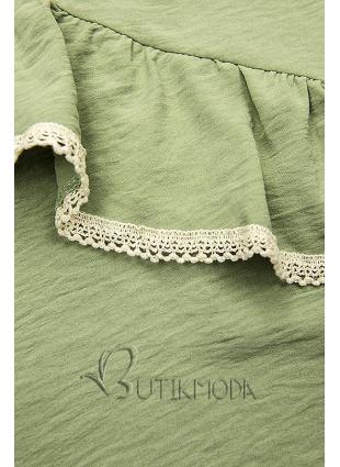 Bluză verde cu volănaș