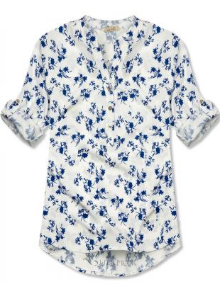 Cămașă alb-albastru cu imprimeu floral