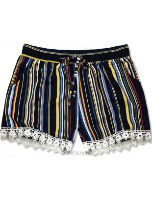 Pantaloni scurți bleumarin cu dungi și dantelă