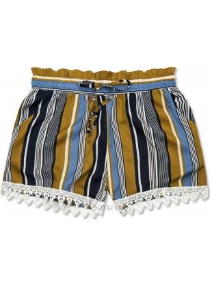 Pantaloni scurți kaki-albastru cu dungi și dantelă