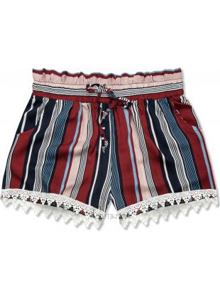 Pantaloni scurți albaștri-bordo cu dungi și dantelă