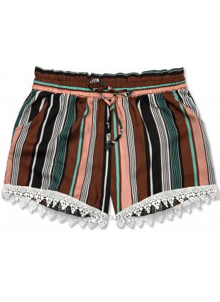 Pantaloni scurți maro-verzi cu dungi și dantelă
