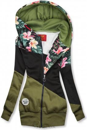 Hanorac floral kaki/negru