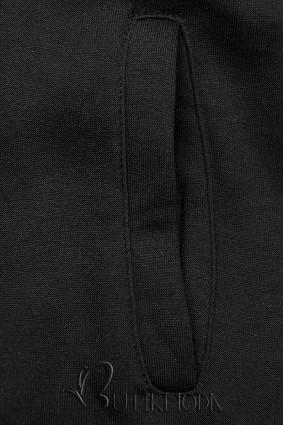 Hanorac negru în croială asimetrică